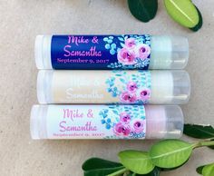 Personalized lip balm tubes are all natural, and infused with organic oils and shea butter. These delicious lip balm tubes will leave your lips soft and moist. These watercolor floral chapsticks are a unique party favor idea for a wedding or bridal shower. Personalize them with your wedding details or your special message. Your guest will love these delicious lip balm favors. Due to the personalization for this product the minimum order is 24. Size: .15oz Shape: Round Ingredients: Soybean…