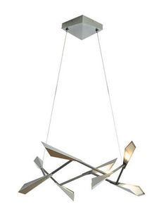 Quill Adjustable Pendant with Aluminum Shades and Acrylic Diffusers, LED, Cable Hung.