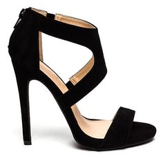 X Marks The Strappy Stiletto Heels BLACK ($26) ❤ liked on Polyvore featuring shoes, pumps, black, high heels stilettos, black strappy stilettos, strap shoes, black strap shoes and black court shoes