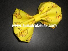 Pikachu super cute and yellow Pokemon Hair Bow or bow by Stitch3d, $6.00