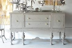 Lovin' painted older pieces these days! Gray painted sideboard.