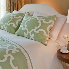Sage Green Duvet Cover Set. Love the color, love the pattern, love the price! Great site for designer bedding!