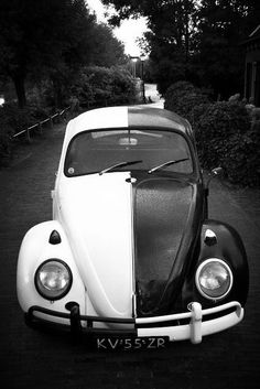 Black and white Volkswagen. This would be cool to drive.