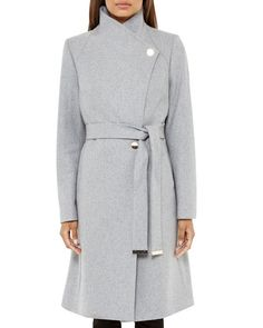 Long wool wrap coat - Taupe | Jackets & Coats | Ted Baker ...