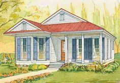 Looking for the best house plans? Check out the Waterstreet Cottage plan from Southern Living. Small House Living, Southern Living House Plans, Country House Plans, Living Spaces, Cottage Floor Plans, Cottage House Plans, House Floor Plans, Cottage Homes, Small Cottages