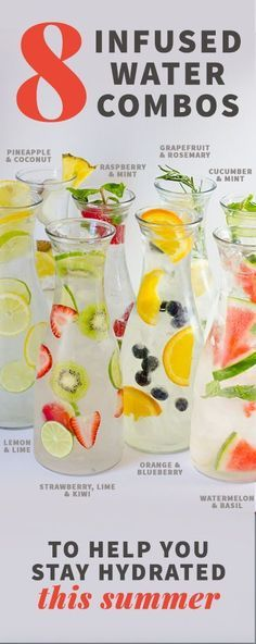 8 Infused Water Combos to Keep You Hydrated Infused Water Recipes, Fruit Infused Water, Infused Waters, Water With Fruit, Flavored Waters, Detox Drinks, Healthy Drinks, Healthy Recipes, Food And Drinks