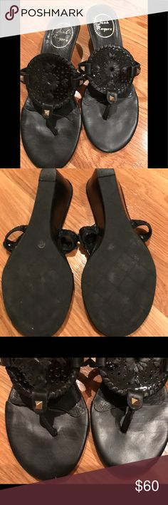 Jack Rogers sandals Black Jack Rogers sandals. Great condition!! Notice the last picture the inside of the shoe the leather is lifting a little....barely worth mentioning. Jack Rogers Shoes Sandals