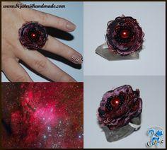 inel organza rosu Fabric Flowers, Class Ring, Jewelry, Jewellery Making, Jewels, Cloth Flowers, Jewlery, Jewerly, Jewelery
