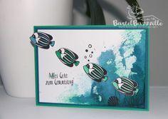 Handmade Birthday Card with Stampin' Up!, Geburtstagskarte, Geburtstag, Seaside Shore, Dapper Denim, Emerald Envy, In Color, JEansblau, Smaragdgrün, Aquarell, Aqua Painter, Maritim, Fisch, fish, male, masculine, Berlin, BastelBazzzille, SU, stempelnstanzenstaunen