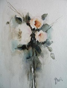 White Roses by Vesna Grundler - White Roses Painting - White Roses Fine Art Prints and Posters for Sale