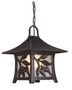 This Asian-inspired outdoor hanging lantern is part of the Mandalay Collection by Craftmade.