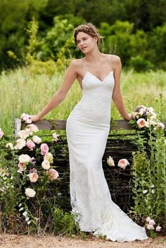 Willowby by Watters bridal gown. Exuding understated elegance, this slim fit and flare in re-embroidered lace with spaghetti straps features a plunging low back. Sweep train Pricing is for sample gown only Dress: Ivory Used Wedding Dresses, Bridesmaid Dresses, Prom Dresses, Wedding Dresses Tight Fitted, Fit And Flare, Bridal Gowns, Wedding Gowns, Lace Wedding, Garden Wedding