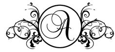 Monogrammed scroll style rubber stamp-personalized 2.25x1 inch wood handled. $22.50, via Etsy.