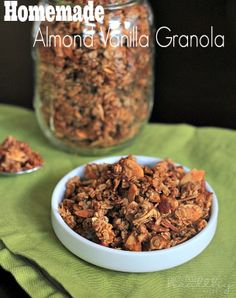 Homemade almond Vanilla Granola: 2 cups old fashioned oats 1/2 cup sliced almonds 2 Tablespoon of brown sugar 1 teaspoon of ground cinnamon 1/2 teaspoon of ground nutmeg 1/4 teaspoon salt 4 Tablespoon of coconut oil, melted {or butter} 1/2 cup pure maple syrup 1 1/2 teaspoon of vanilla extract