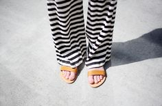 striped pants with beautiful sandals
