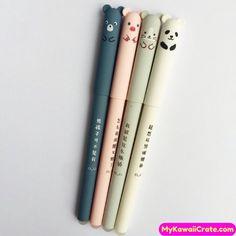 4 Pc Adorable Animals Velvet Feel Erasable Gel Pens ~ Cute Cartoon Pig Panda Mouse Bear Pen, Planner The Effective … Japanese School Supplies, Cool School Supplies, Stationary School, Cute Stationary, Kawaii Pens, Cute Pens, Pen And Paper, Copics, Gel Pens