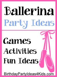 Ballerina Birthday Party Theme - Fun ideas for a ballerina themed birthday party.  Fun ballerina themed games, activities, crafts, party food ideas and more!   FREE tutorial on how to make cheap and EASY no sew tutu's!   Great for ages 3, 4, 5, 6, 7, 8. 9, 10, 11, 12, 13, 14, 15, 16 year olds.   http://birthdaypartyideas4kids.com/ballerina-birthday-theme.htm #ballerina #party