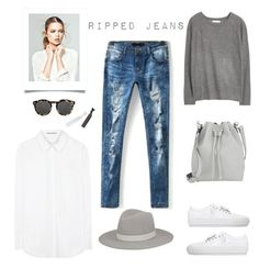 Ripped Jeans by barngirl on Polyvore featuring Acne Studios, MANGO, Proenza Schouler, Janessa Leone, Illesteva and Natasha Accessories