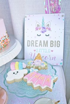 Cookies & Dream Big Signage from a Magical Unicorn Birthday Party on Kara's Party Ideas | KarasPartyIdeas.com (15)
