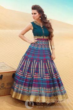 Royal Multicolor Raw Silk Readymade Partywear Anarkali Suit