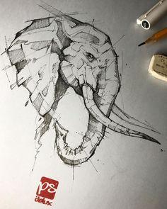 Ideas Tattoo Elephant Drawing Illustrations For 2019 Elephant Sketch, Elephant Art, Elephant Tattoos, Animal Tattoos, Elephant Drawings, Pencil Art Drawings, Drawing Sketches, Tattoo Drawings, Drawing Ideas