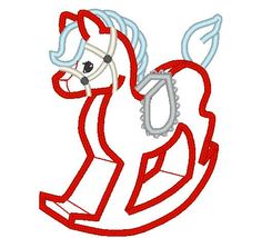 Cute Rocking Horse - Christmas Toy - Machine Embroidery Applique Designs - 4x4…