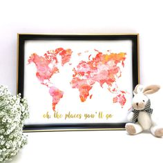 Printable Art Pink and Gold World Map Nursery Decor by MyModernArt