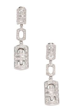 Vintage Estate Jewelry 18K White Gold Diamond Chandelier Earrings - 1.44 ctw by LXR on @HauteLook