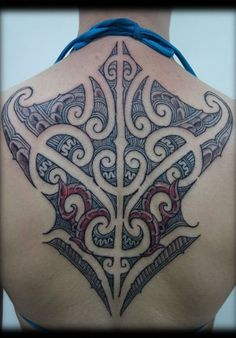 Custom New Zealand Maori Tribal Ta Moko Kirituhi with Red COlor Back Tattoo Design_tattoo gallery