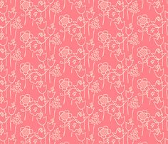 Drawn Floral Coral Wallpaper - Contemporary - Wallpaper - Spoonflower