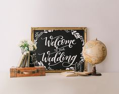 Welcome your guests to the wedding in style with this gorgeous hand lettered sign featuring a chalkboard background and soft floral details. _________________________________________________________  This listing is for an INSTANT DOWNLOAD of both the PDF and JPEG files of this artwork.  Dimensions: 8x10 inches. :::: Can I change the size/color? :::: Please send me a message if you would like the printable in a different size and/or color. There may be an extra charge for this service…