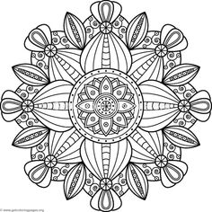 Free Instant Downloads Flower Mandalas Pattern Coloring Pages
