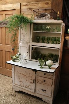 Hoosier as drink station from Southern Vintage rentals - would repainted ours black