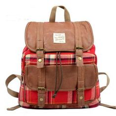 Old-school plaid cotton knit backpacks for girls