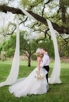 draped fabric in the tree wedding backdrop#weddings #weddingideas #weddingarces #weddingdecor