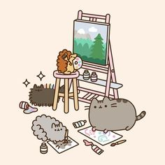 freetoedit pusheen stormy pip - GIF by Valerie Gato Pusheen, Pusheen Love, Pusheen Stuff, Chat Kawaii, Kawaii Cat, Cat Wallpaper, Kawaii Wallpaper, Painting Wallpaper, Pusheen Stormy