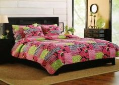 Great for a guest room or a teen girl's bedroom, Astrid Deep Pink, Lime Green & Black Quilt Set, Twin