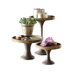 Create your own art show on top of these stunning, slender pedestals. The tops are made of knotty aged wood, then perfectly placed on slim, weathered metal bases for a classic, yet rustic look.  Find the Classic Mixed Media Pedestals - Set of 3, as seen in the #TheNewLuxe Collection at http://dotandbo.com/collections/the-new-luxe?utm_source=pinterest&utm_medium=organic&db_sku=89607