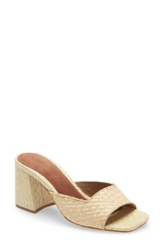 Jeffrey Campbell Melange Woven Slide Sandal In Natural Raffia Jeffrey Campbell, Slide Sandals, Chunky Heels, World Of Fashion, Luxury Branding, Heeled Mules, Your Style, Nordstrom, Natural