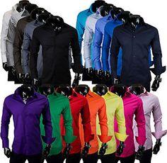 Mens Long Sleeve Casual Shirt Dress Formal Button Business Wedding Slim FIT NEW   eBay