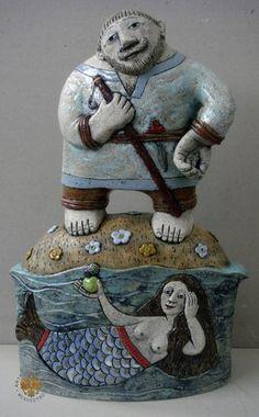 Blue - figurative - ceramic - mermaid - Г.Булганина