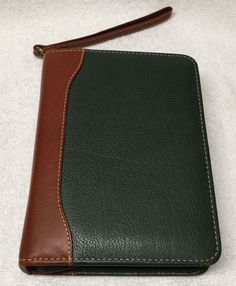 Franklin Covey Compact Verona Leather Zipper Binder Green w Brown Trim Excellent | eBay