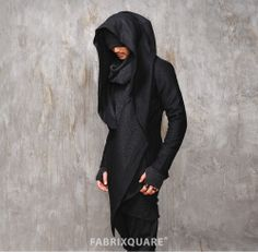 Mens Vandalique Hooded Woolen Cape Coat at Fabrixquare