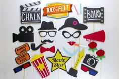 This 24 piece felt Hollywood Photo Booth Prop package is guaranteed to add fun and laughs to your party. Each Hollywood themed photo booth prop is