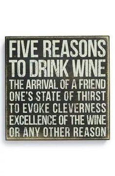 As if you need five reasons. #StJamesWinery #Wine #Winery #Funny