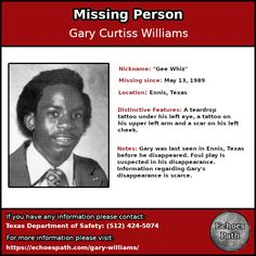 Gary #disappeared from #Ennis, #Texas in #1989. Foul play is suspected.  #Missing #MissingPerson #Crime #TrueCrime #TrueCrimeCommunity #PodernFamily #Unsolved #UnsolvedMysteries #Mystery #ColdCase #EchoesPath Missing Child, Missing Persons, Ennis Texas, Teardrop Tattoo, Foul Play, Cold Case, True Crime, Black History, Flyers