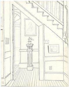 Citation: Sketch inside the Schoolhouse, 1959. Emilio Sanchez papers, Archives of American Art, Smithsonian Institution.