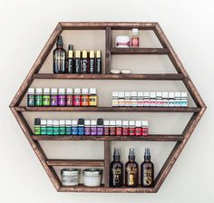 Hexagon Shelf, Essential Oil Shelf, Geometric Shelf, Floating Shelf