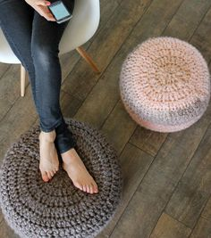 Crocheted  Pouf Cushions - instructions to make cushion and crochet outer wrap
