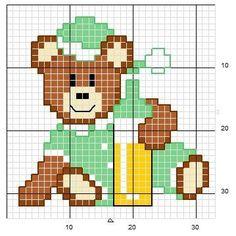 Little bear green ♥vanuska♥ Cross Stitch For Kids, Cross Stitch Baby, Cross Stitch Charts, Cross Stitch Designs, Cross Stitch Patterns, Loom Patterns, Broderie Simple, Hello Kitty Wallpaper, Beaded Animals